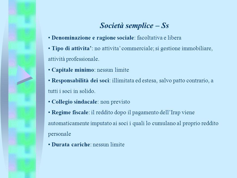 Società semplice – Ss Denominazione e ragione sociale: facoltativa e libera Tipo di attivita: no attivita commerciale; si gestione immobiliare, attivi