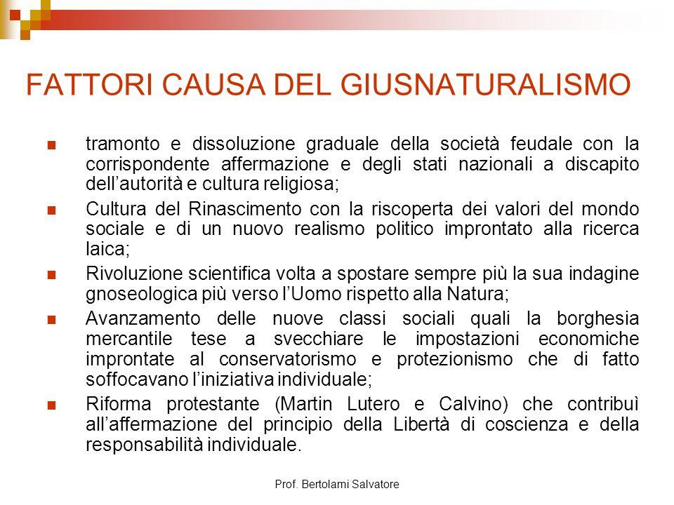 Prof. Bertolami Salvatore FATTORI CAUSA DEL GIUSNATURALISMO tramonto e dissoluzione graduale della società feudale con la corrispondente affermazione