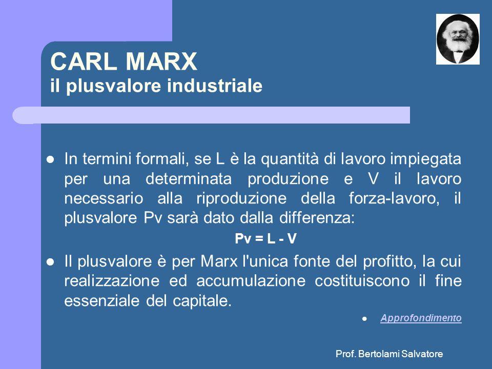 Prof. Bertolami Salvatore CARL MARX il plusvalore industriale In termini formali, se L è la quantità di lavoro impiegata per una determinata produzion