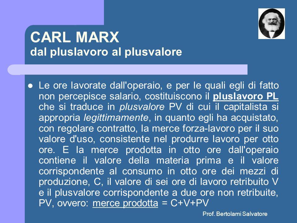 Prof. Bertolami Salvatore CARL MARX dal pluslavoro al plusvalore Le ore lavorate dall'operaio, e per le quali egli di fatto non percepisce salario, co
