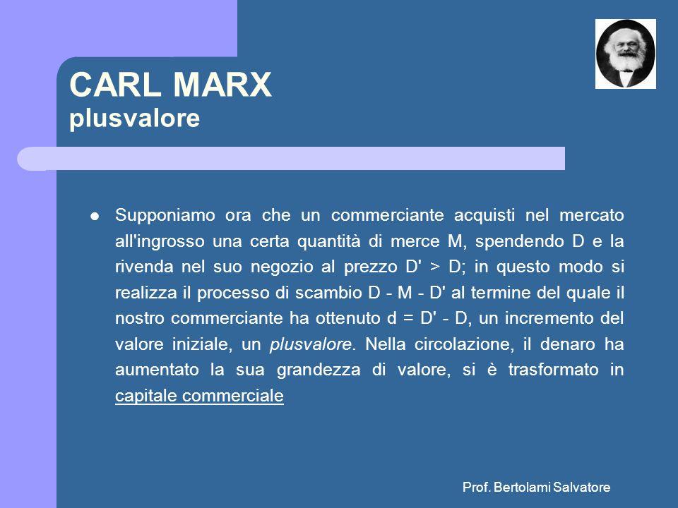 Prof. Bertolami Salvatore CARL MARX plusvalore Supponiamo ora che un commerciante acquisti nel mercato all'ingrosso una certa quantità di merce M, spe