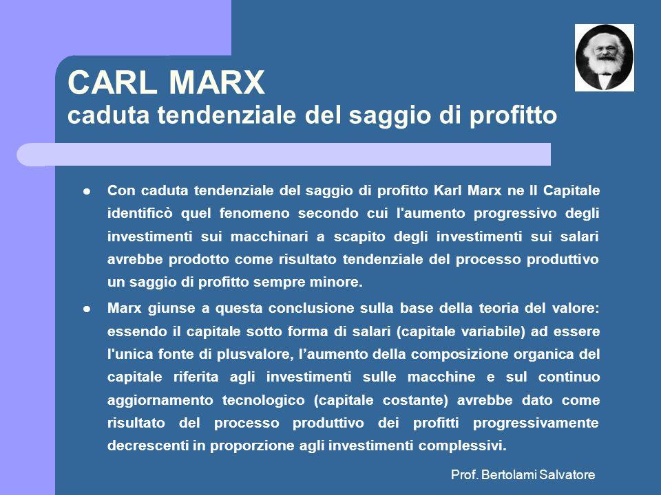 Prof. Bertolami Salvatore CARL MARX caduta tendenziale del saggio di profitto Con caduta tendenziale del saggio di profitto Karl Marx ne Il Capitale i