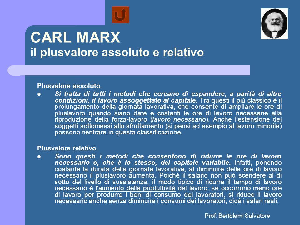 Prof. Bertolami Salvatore CARL MARX il plusvalore assoluto e relativo Plusvalore assoluto. Si tratta di tutti i metodi che cercano di espandere, a par