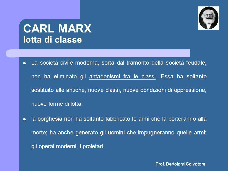 Prof. Bertolami Salvatore CARL MARX lotta di classe La società civile moderna, sorta dal tramonto della società feudale, non ha eliminato gli antagoni