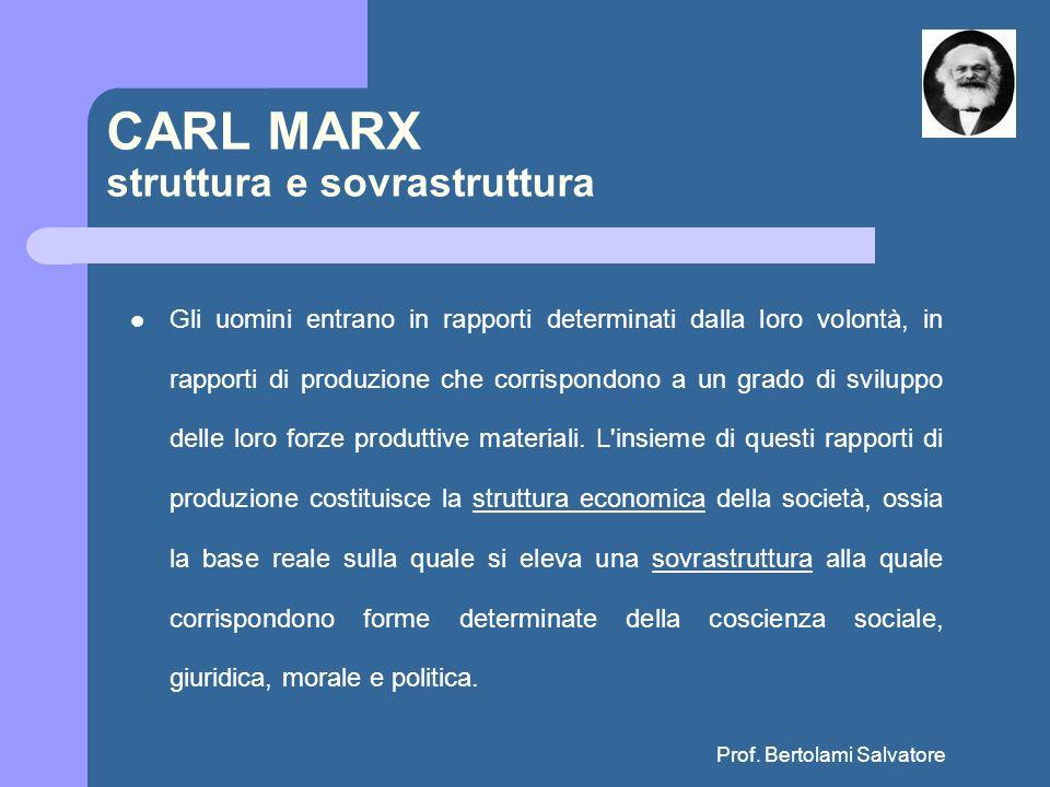 Prof. Bertolami Salvatore CARL MARX struttura e sovrastruttura Gli uomini entrano in rapporti determinati dalla loro volontà, in rapporti di produzion