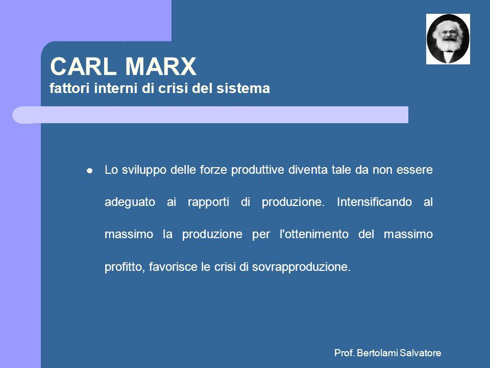 Prof. Bertolami Salvatore CARL MARX fattori interni di crisi del sistema Lo sviluppo delle forze produttive diventa tale da non essere adeguato ai rap
