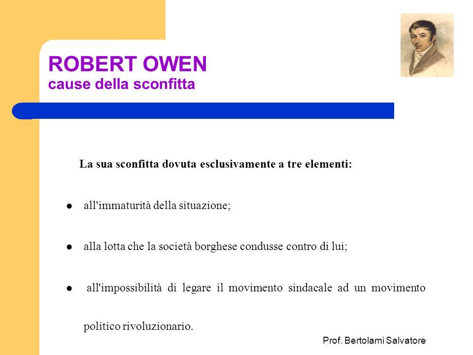 Prof. Bertolami Salvatore ROBERT OWEN cause della sconfitta La sua sconfitta dovuta esclusivamente a tre elementi: all'immaturità della situazione; al