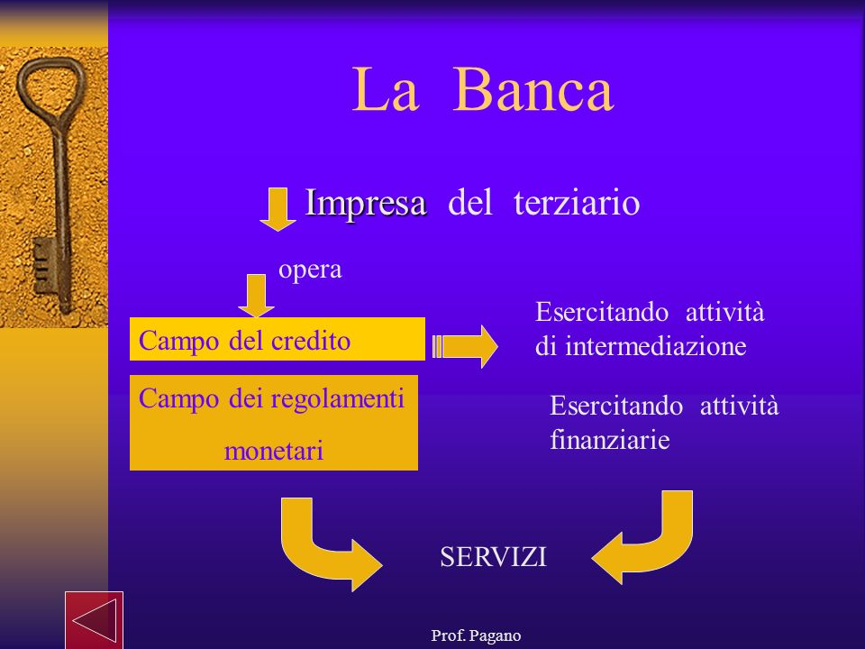 Prof. Pagano La Banca Impresa Impresa del terziario opera Campo del credito Campo dei regolamenti monetari SERVIZI Esercitando attività di intermediaz