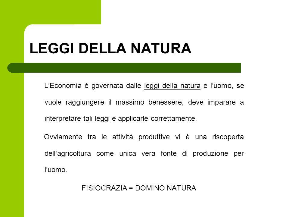 LEGGI DELLA NATURA LEconomia è governata dalle leggi della natura e luomo, se vuole raggiungere il massimo benessere, deve imparare a interpretare tal