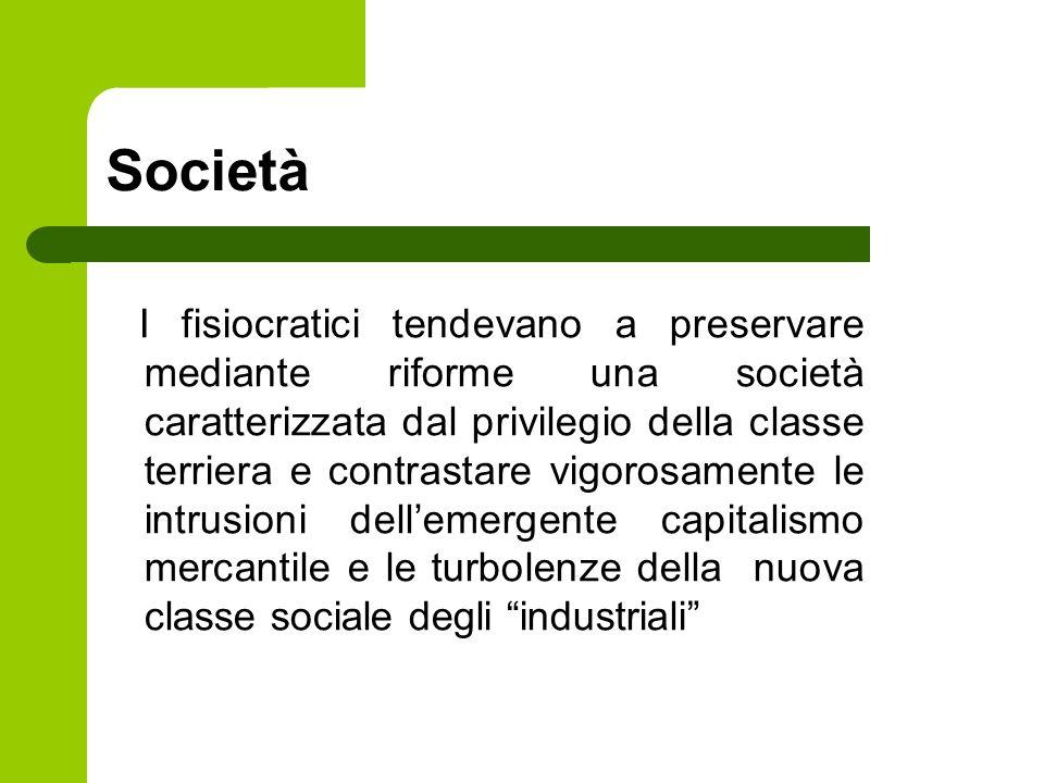 Società I fisiocratici tendevano a preservare mediante riforme una società caratterizzata dal privilegio della classe terriera e contrastare vigorosam