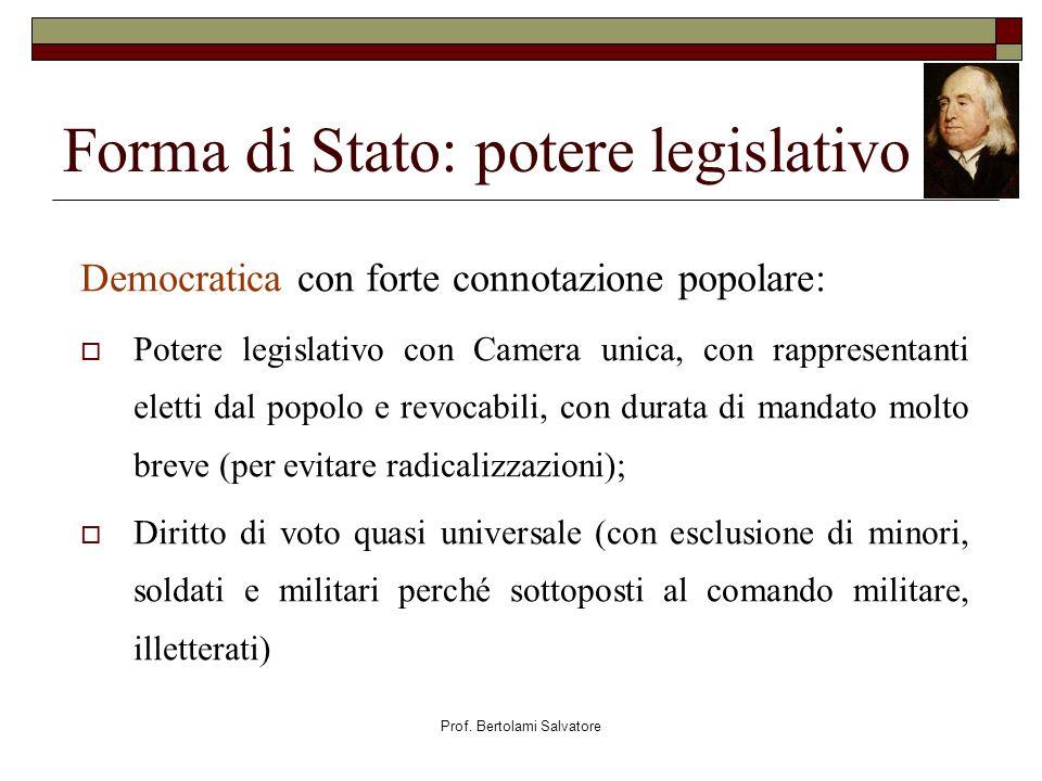 Prof. Bertolami Salvatore Forma di Stato: potere legislativo Democratica con forte connotazione popolare: Potere legislativo con Camera unica, con rap