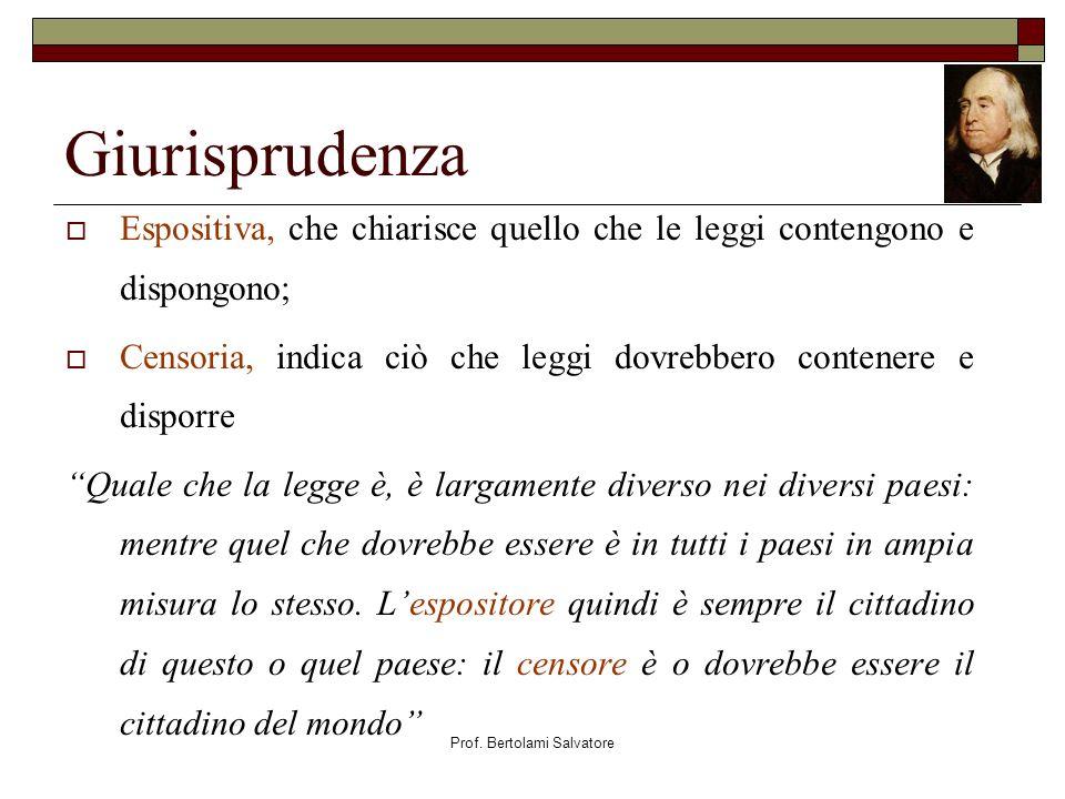 Prof. Bertolami Salvatore Giurisprudenza Espositiva, che chiarisce quello che le leggi contengono e dispongono; Censoria, indica ciò che leggi dovrebb