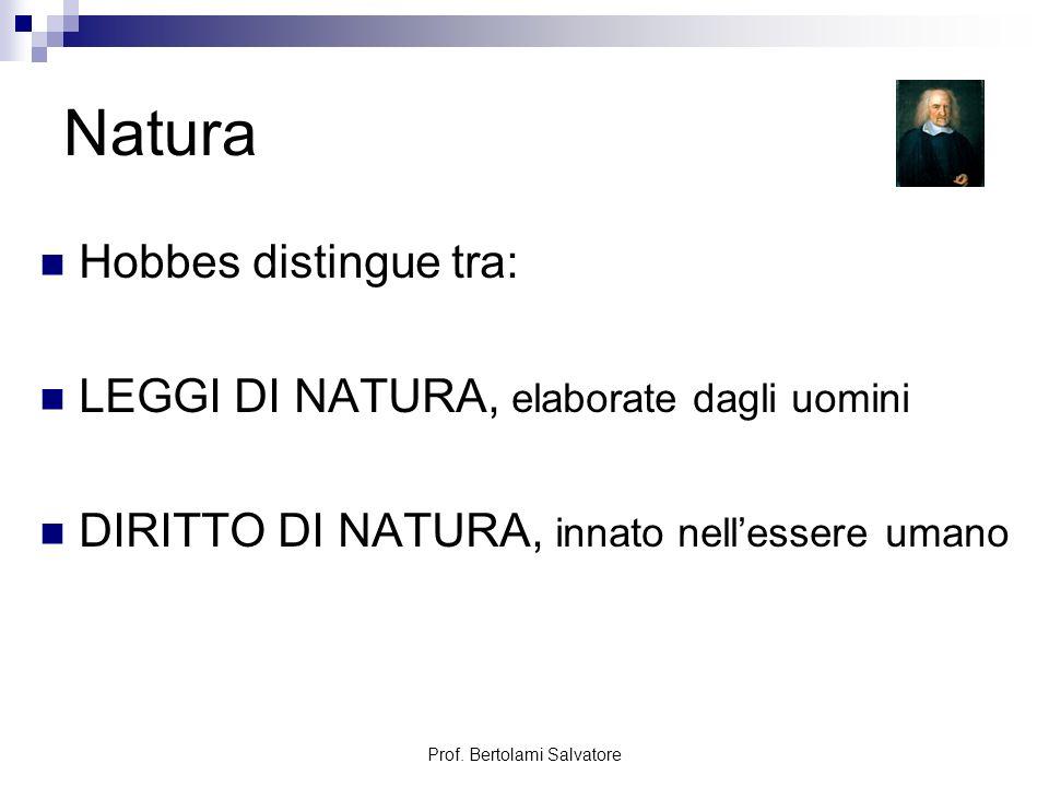 Prof.Bertolami Salvatore Leggi di natura Prima legge di natura: perseguire la pace.