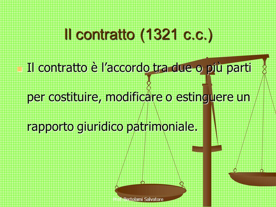 Prof. Bertolami Salvatore Il contratto (1321 c.c.) Il contratto è laccordo tra due o più parti per costituire, modificare o estinguere un rapporto giu
