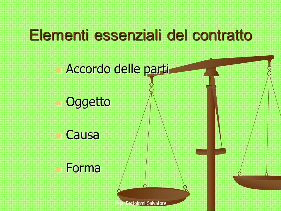 Prof. Bertolami Salvatore Elementi essenziali del contratto Accordo delle parti Accordo delle parti Oggetto Oggetto Causa Causa Forma Forma