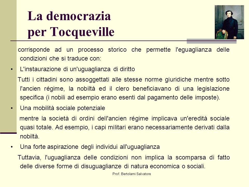 Prof. Bertolami Salvatore La democrazia per Tocqueville corrisponde ad un processo storico che permette l'eguaglianza delle condizioni che si traduce