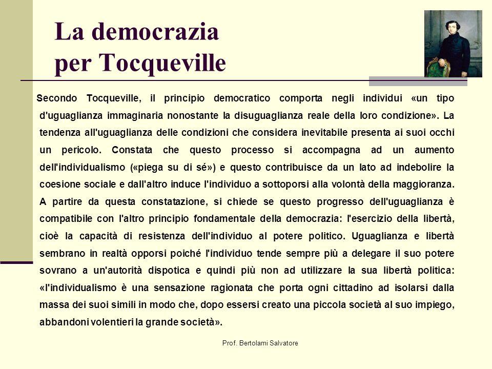 Prof. Bertolami Salvatore La democrazia per Tocqueville Secondo Tocqueville, il principio democratico comporta negli individui «un tipo d'uguaglianza