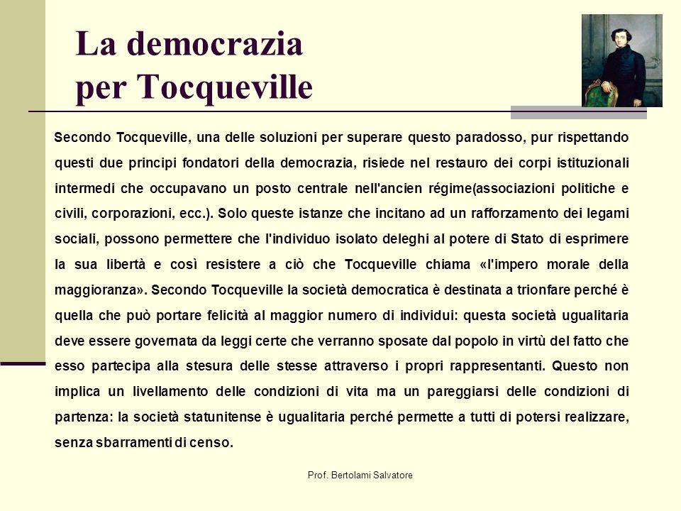 Prof. Bertolami Salvatore La democrazia per Tocqueville Secondo Tocqueville, una delle soluzioni per superare questo paradosso, pur rispettando questi
