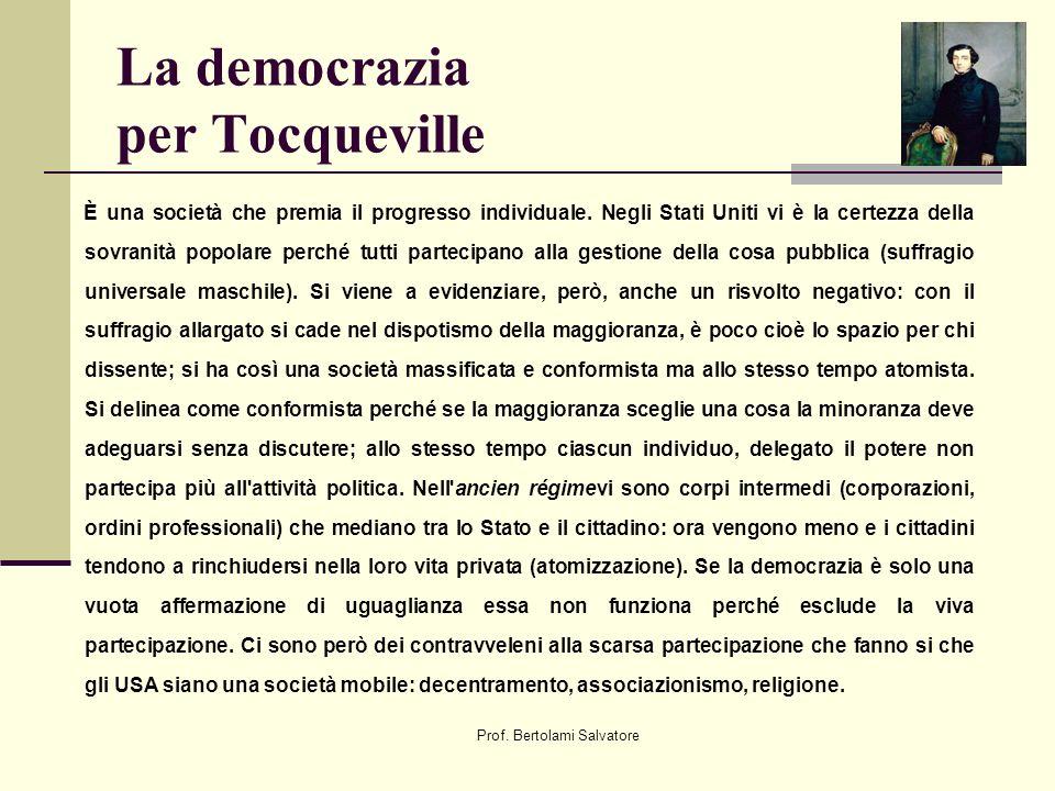 Prof. Bertolami Salvatore La democrazia per Tocqueville È una società che premia il progresso individuale. Negli Stati Uniti vi è la certezza della so