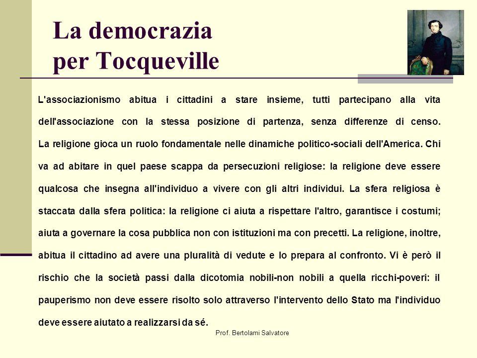 Prof. Bertolami Salvatore La democrazia per Tocqueville L'associazionismo abitua i cittadini a stare insieme, tutti partecipano alla vita dell'associa