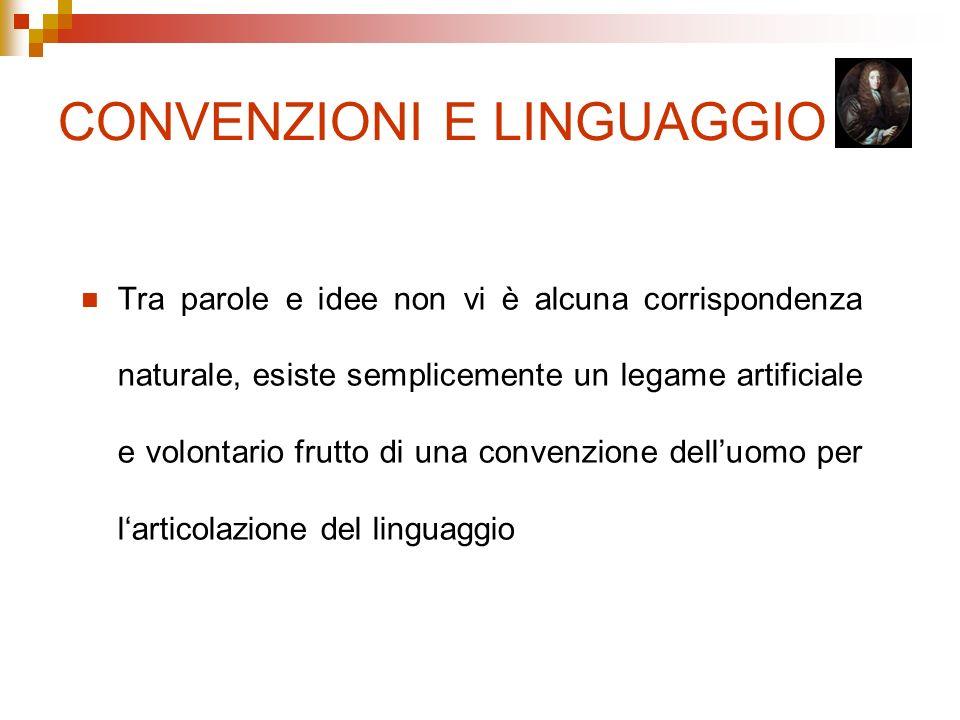 CONVENZIONI E LINGUAGGIO Tra parole e idee non vi è alcuna corrispondenza naturale, esiste semplicemente un legame artificiale e volontario frutto di