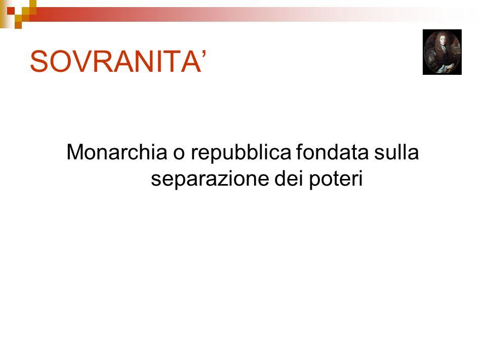SOVRANITA Monarchia o repubblica fondata sulla separazione dei poteri
