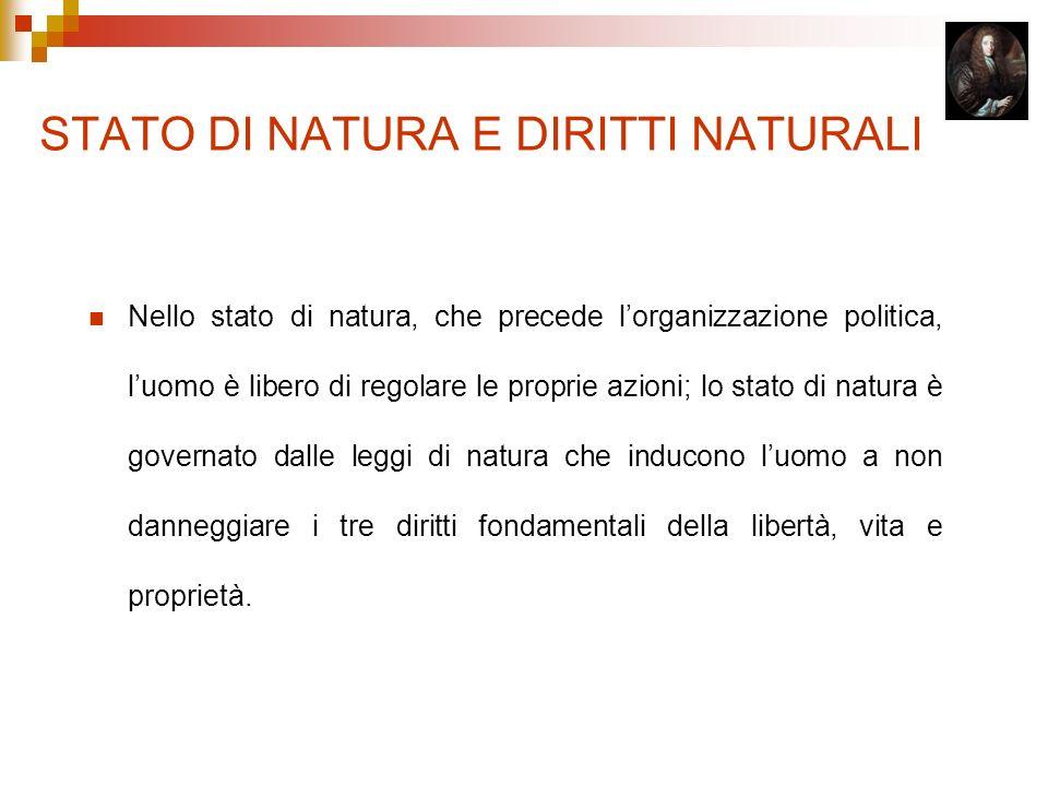 STATO DI NATURA E DIRITTI NATURALI Nello stato di natura, che precede lorganizzazione politica, luomo è libero di regolare le proprie azioni; lo stato