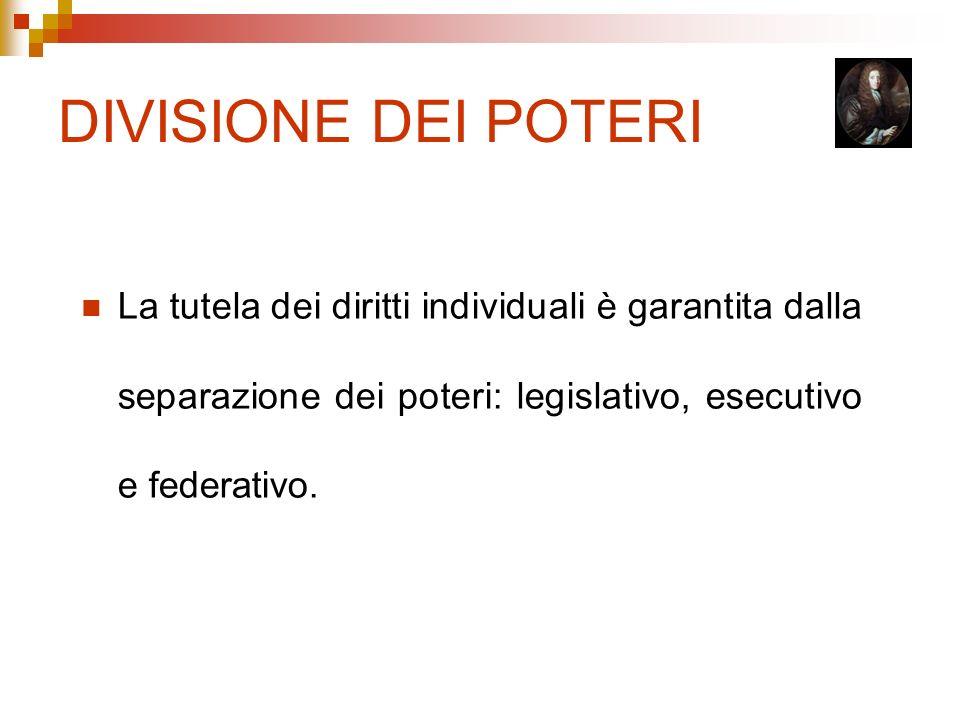 DIVISIONE DEI POTERI La tutela dei diritti individuali è garantita dalla separazione dei poteri: legislativo, esecutivo e federativo.