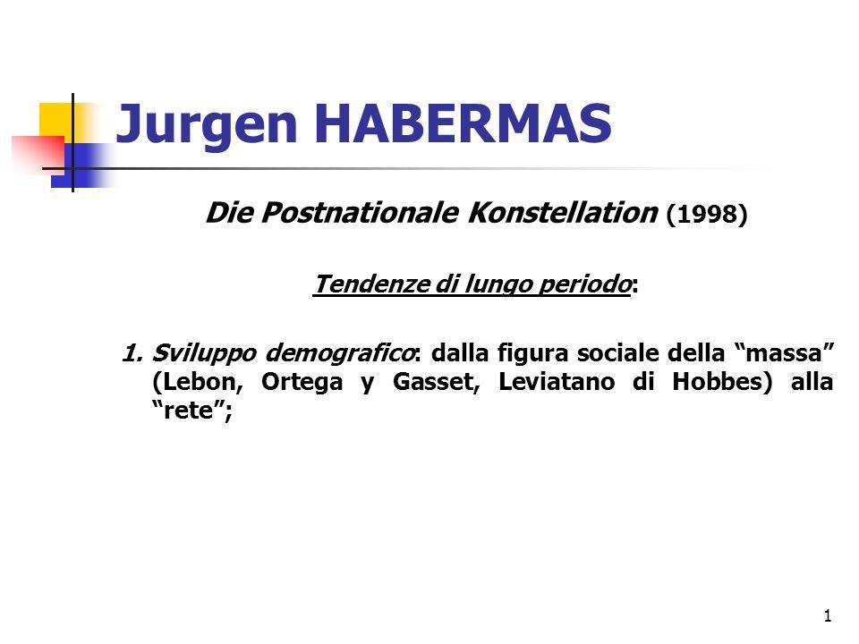 1 Jurgen HABERMAS Die Postnationale Konstellation (1998) Tendenze di lungo periodo: 1.