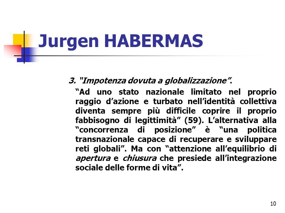 10 Jurgen HABERMAS 3. Impotenza dovuta a globalizzazione.