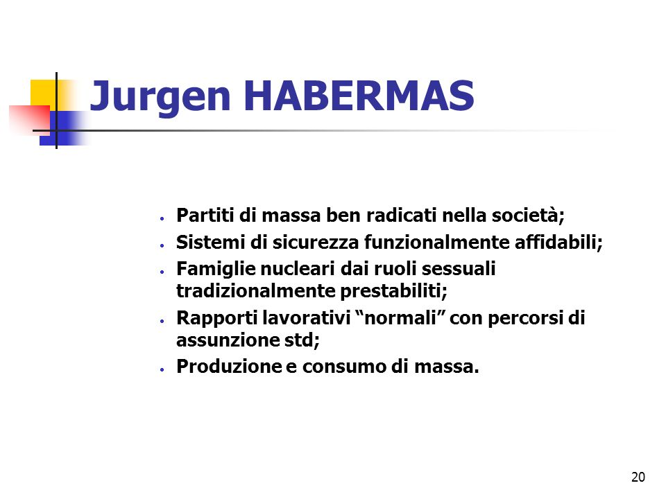 20 Jurgen HABERMAS Partiti di massa ben radicati nella società; Sistemi di sicurezza funzionalmente affidabili; Famiglie nucleari dai ruoli sessuali tradizionalmente prestabiliti; Rapporti lavorativi normali con percorsi di assunzione std; Produzione e consumo di massa.