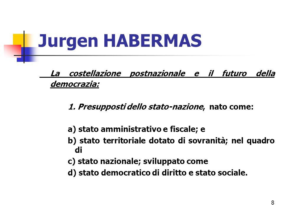 8 Jurgen HABERMAS La costellazione postnazionale e il futuro della democrazia: 1.