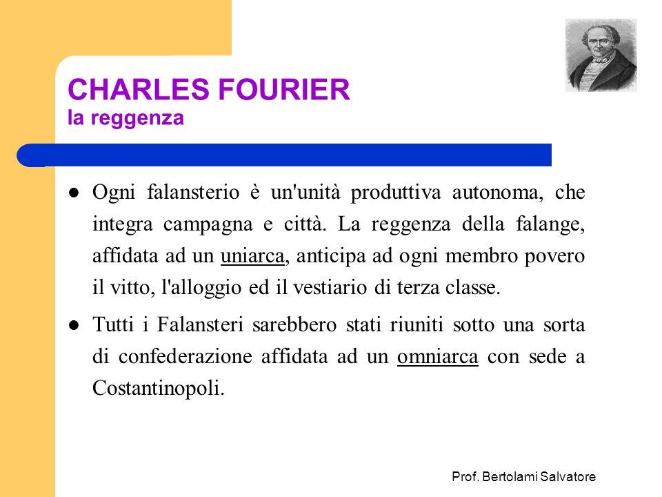 Prof. Bertolami Salvatore CHARLES FOURIER la reggenza Ogni falansterio è un'unità produttiva autonoma, che integra campagna e città. La reggenza della