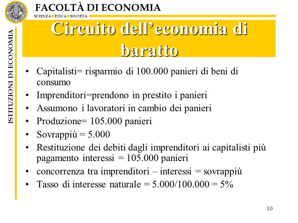 FACOLTÀ DI ECONOMIA SCIENZA ETICA SOCIETÀ ISTITUZIONI DI ECONOMIA 10 Circuito delleconomia di baratto Capitalisti= risparmio di 100.000 panieri di ben