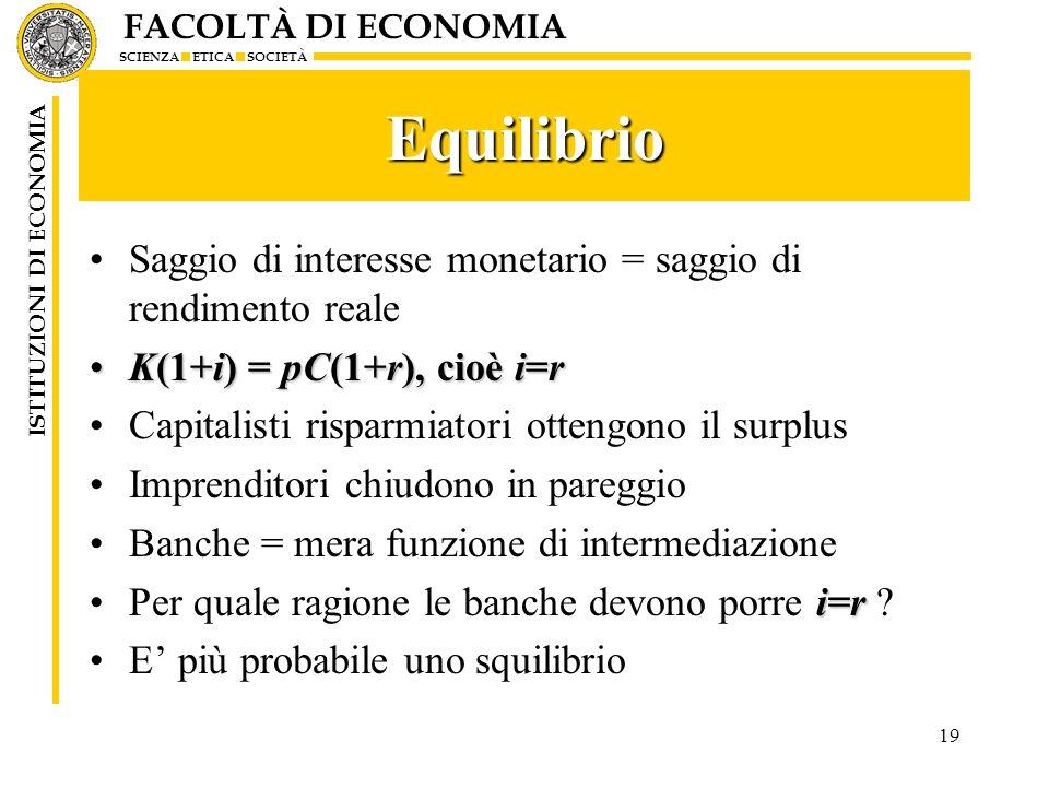 FACOLTÀ DI ECONOMIA SCIENZA ETICA SOCIETÀ ISTITUZIONI DI ECONOMIA 19 Equilibrio Saggio di interesse monetario = saggio di rendimento reale K(1+i) = pC