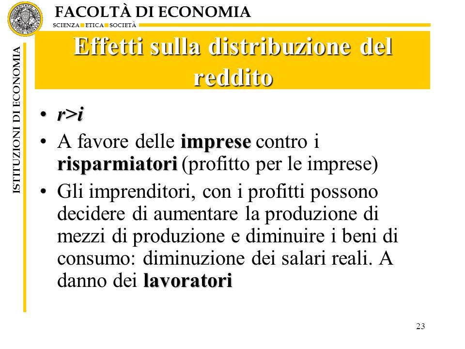 FACOLTÀ DI ECONOMIA SCIENZA ETICA SOCIETÀ ISTITUZIONI DI ECONOMIA 23 Effetti sulla distribuzione del reddito r>ir>i imprese risparmiatoriA favore dell
