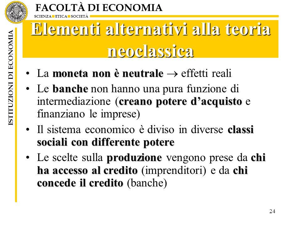 FACOLTÀ DI ECONOMIA SCIENZA ETICA SOCIETÀ ISTITUZIONI DI ECONOMIA 24 Elementi alternativi alla teoria neoclassica moneta non è neutraleLa moneta non è
