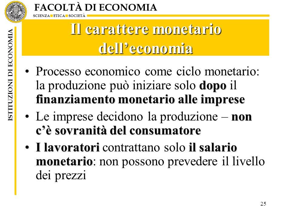 FACOLTÀ DI ECONOMIA SCIENZA ETICA SOCIETÀ ISTITUZIONI DI ECONOMIA 25 Il carattere monetario delleconomia dopo finanziamento monetario alle impreseProc