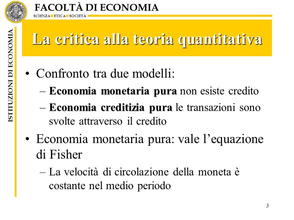 FACOLTÀ DI ECONOMIA SCIENZA ETICA SOCIETÀ ISTITUZIONI DI ECONOMIA 3 La critica alla teoria quantitativa Confronto tra due modelli: –Economia monetaria