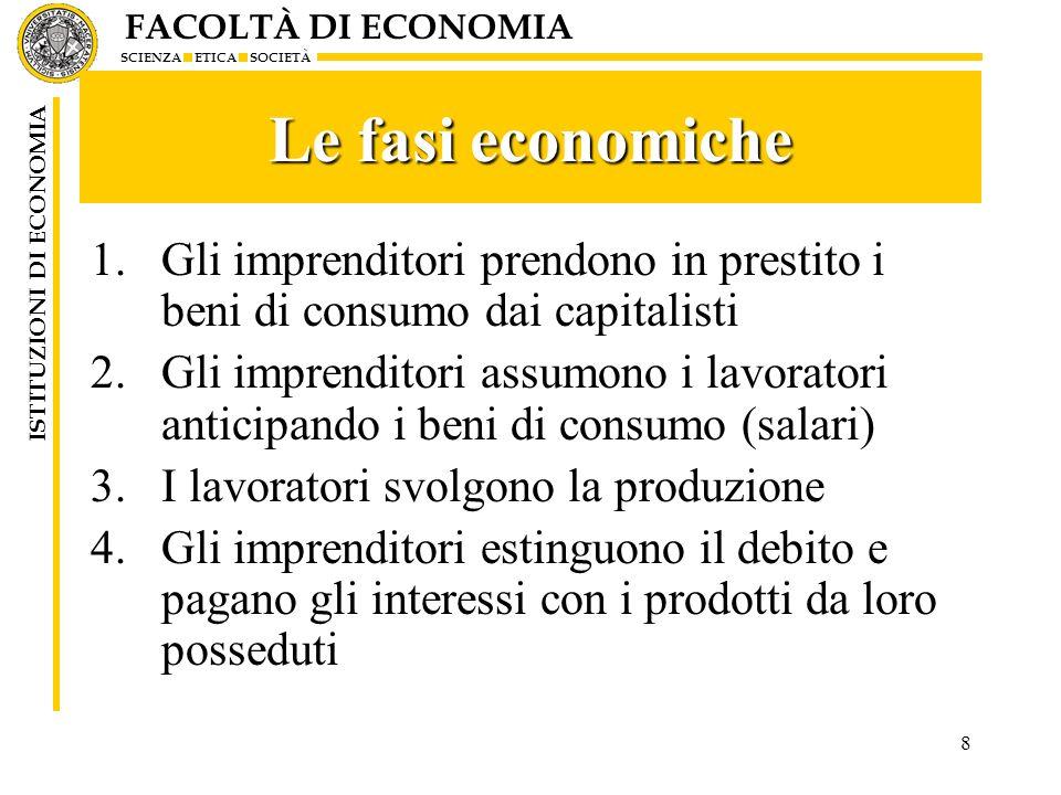 FACOLTÀ DI ECONOMIA SCIENZA ETICA SOCIETÀ ISTITUZIONI DI ECONOMIA 8 Le fasi economiche 1.Gli imprenditori prendono in prestito i beni di consumo dai c