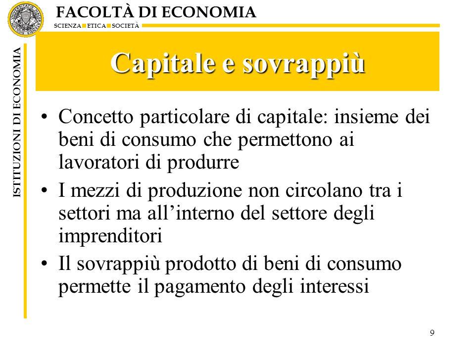 FACOLTÀ DI ECONOMIA SCIENZA ETICA SOCIETÀ ISTITUZIONI DI ECONOMIA 20 Il processo di squilibrio r>iSe r>i profitto netto degli imprenditori che li spinge a estendere la loro attività Processo cumulativo di crescita che si traduce in inflazione Esempio circuito precedente il processo produttivo si svolge con rendimenti più elevati K=pC pC(1+r)- pC(1+i)= pC(r-i)Poiché K=pC il profitto è uguale a pC(1+r)- pC(1+i)= pC(r-i) Dati i profitti, gli imprenditori chiedono maggiori finanziamenti per allargare ancora la produzione