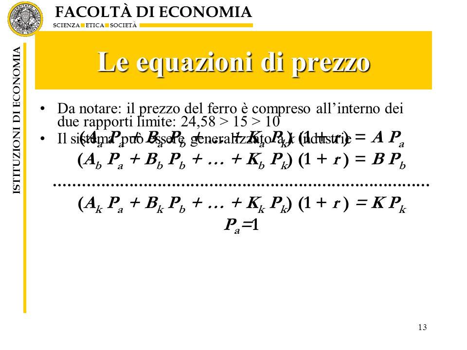 FACOLTÀ DI ECONOMIA SCIENZA ETICA SOCIETÀ ISTITUZIONI DI ECONOMIA 13 Le equazioni di prezzo Da notare: il prezzo del ferro è compreso allinterno dei d