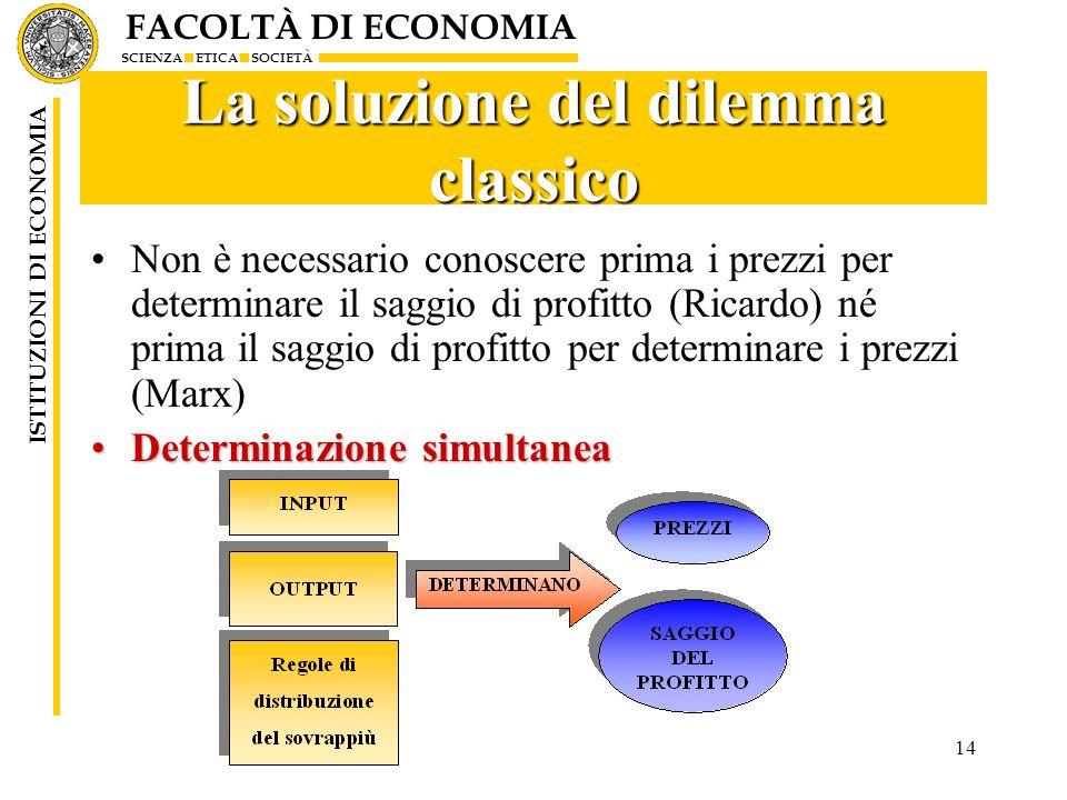 FACOLTÀ DI ECONOMIA SCIENZA ETICA SOCIETÀ ISTITUZIONI DI ECONOMIA 14 La soluzione del dilemma classico Non è necessario conoscere prima i prezzi per d