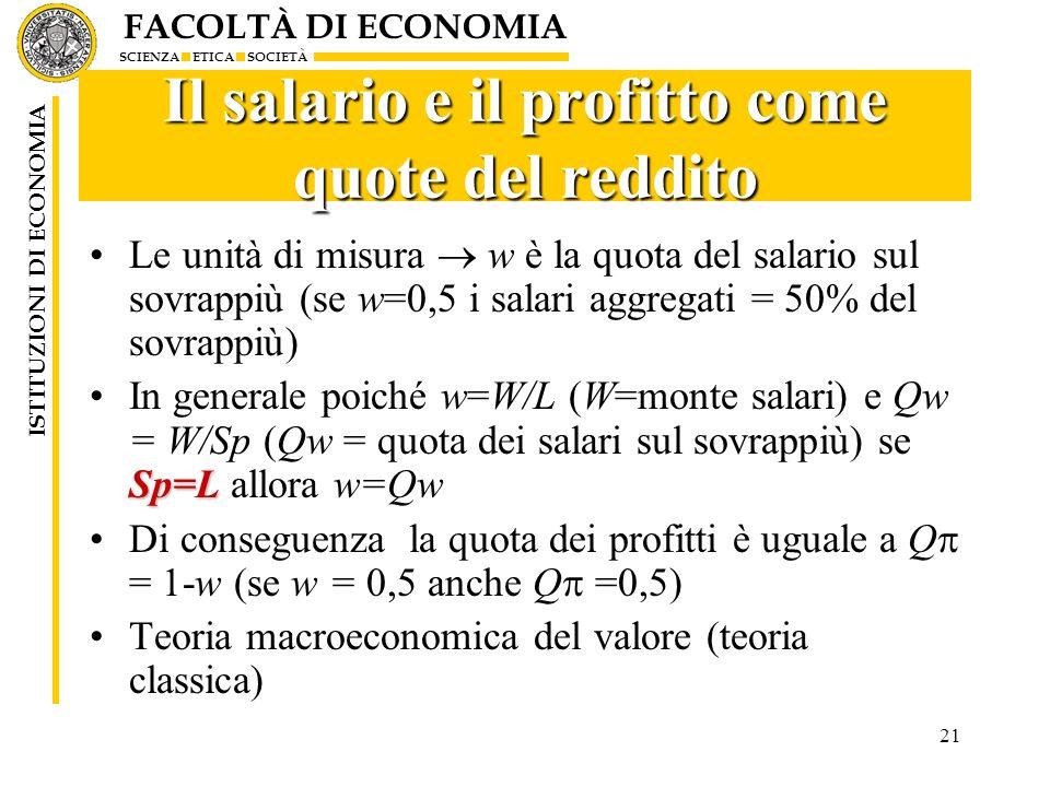 FACOLTÀ DI ECONOMIA SCIENZA ETICA SOCIETÀ ISTITUZIONI DI ECONOMIA 21 Il salario e il profitto come quote del reddito Le unità di misura w è la quota d