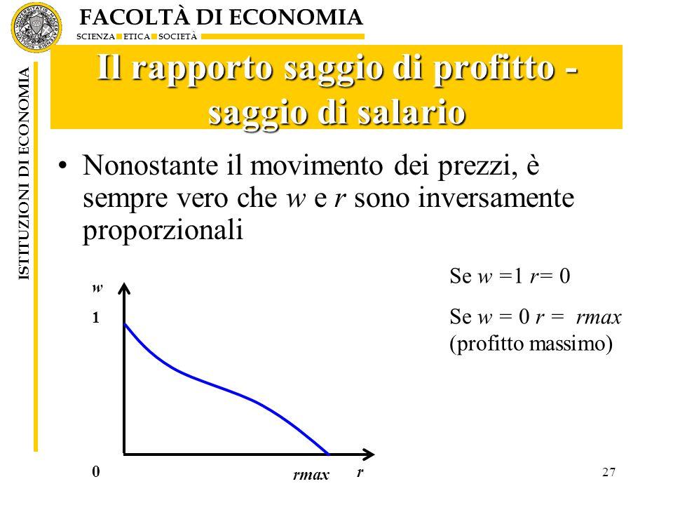 FACOLTÀ DI ECONOMIA SCIENZA ETICA SOCIETÀ ISTITUZIONI DI ECONOMIA 27 Il rapporto saggio di profitto - saggio di salario Nonostante il movimento dei pr