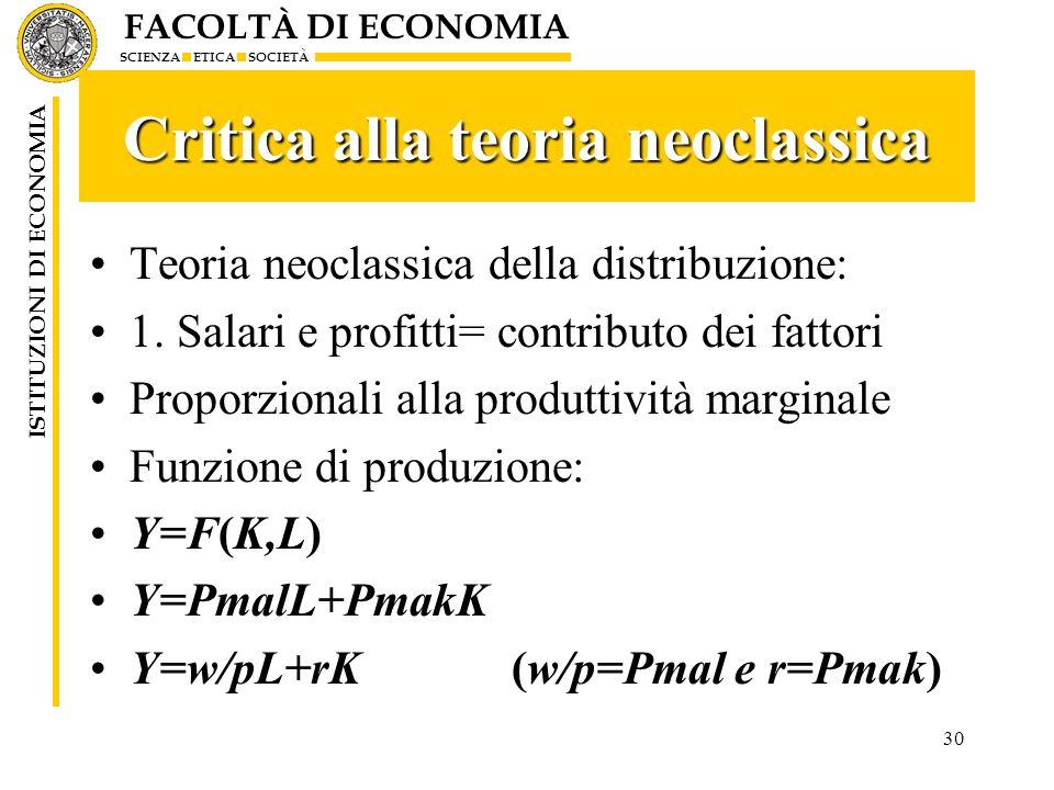 FACOLTÀ DI ECONOMIA SCIENZA ETICA SOCIETÀ ISTITUZIONI DI ECONOMIA 30 Critica alla teoria neoclassica Teoria neoclassica della distribuzione: 1. Salari