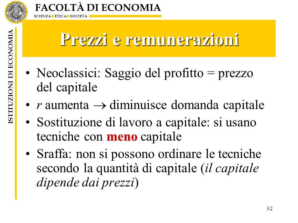 FACOLTÀ DI ECONOMIA SCIENZA ETICA SOCIETÀ ISTITUZIONI DI ECONOMIA 32 Prezzi e remunerazioni Neoclassici: Saggio del profitto = prezzo del capitale r a
