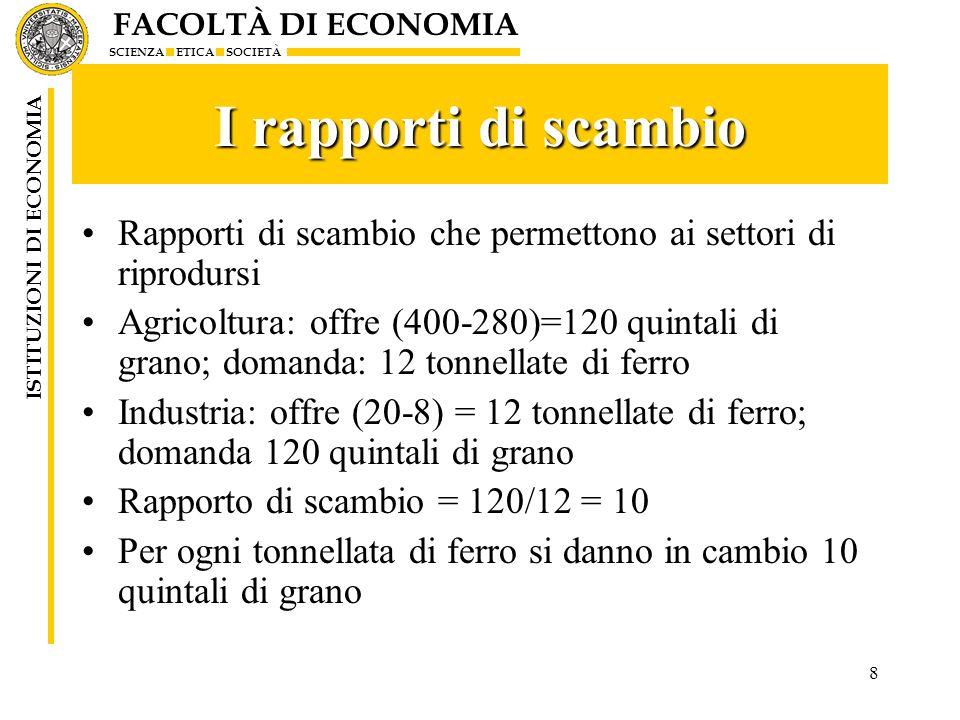 FACOLTÀ DI ECONOMIA SCIENZA ETICA SOCIETÀ ISTITUZIONI DI ECONOMIA 8 I rapporti di scambio Rapporti di scambio che permettono ai settori di riprodursi