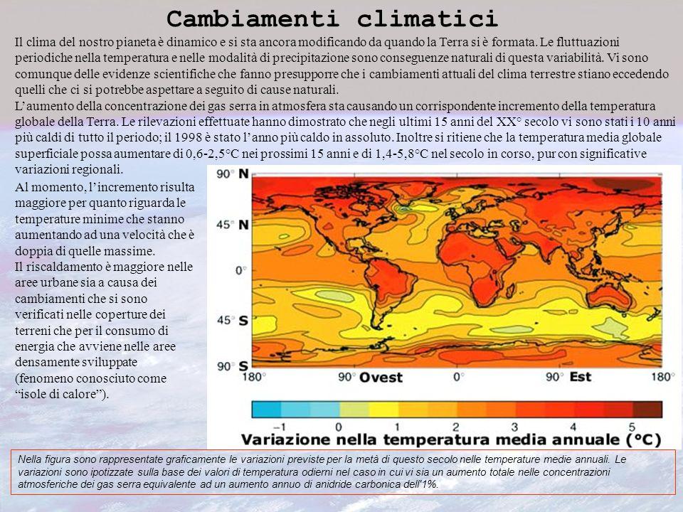 Cambiamenti climatici Il clima del nostro pianeta è dinamico e si sta ancora modificando da quando la Terra si è formata. Le fluttuazioni periodiche n