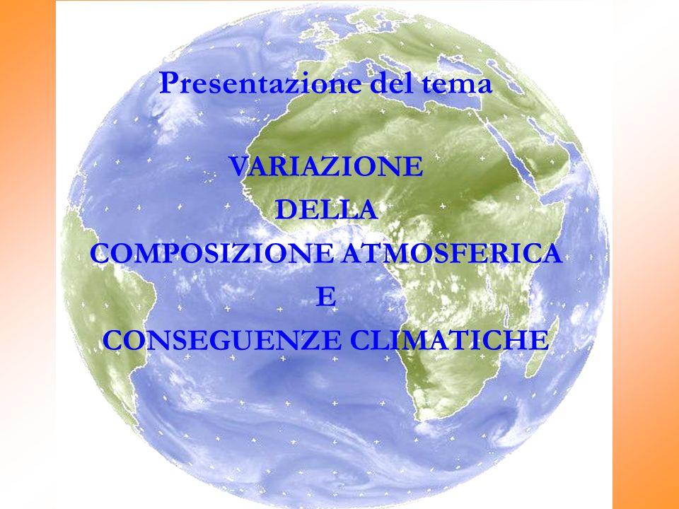 Presentazione del tema VARIAZIONE DELLA COMPOSIZIONE ATMOSFERICA E CONSEGUENZE CLIMATICHE